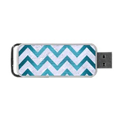 Chevron9 White Marble & Teal Brushed Metal (r) Portable Usb Flash (one Side)