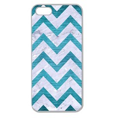 Chevron9 White Marble & Teal Brushed Metal (r) Apple Seamless Iphone 5 Case (clear)