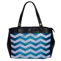 Chevron3 White Marble & Teal Brushed Metal Office Handbags