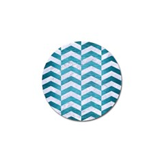 Chevron2 White Marble & Teal Brushed Metal Golf Ball Marker