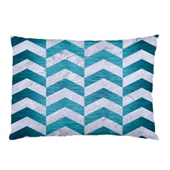 Chevron2 White Marble & Teal Brushed Metal Pillow Case