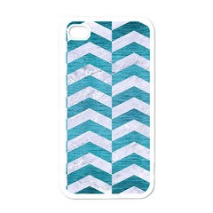 Chevron2 White Marble & Teal Brushed Metal Apple Iphone 4 Case (white)