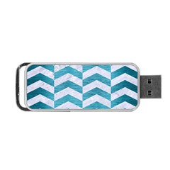 Chevron2 White Marble & Teal Brushed Metal Portable Usb Flash (two Sides)