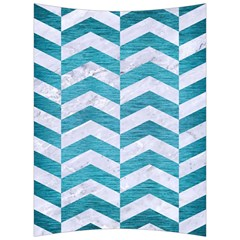 Chevron2 White Marble & Teal Brushed Metal Back Support Cushion