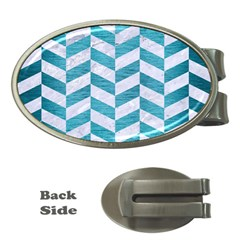 Chevron1 White Marble & Teal Brushed Metal Money Clips (oval)