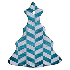 Chevron1 White Marble & Teal Brushed Metal Christmas Tree Ornament (two Sides)