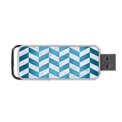 Chevron1 White Marble & Teal Brushed Metal Portable Usb Flash (two Sides)