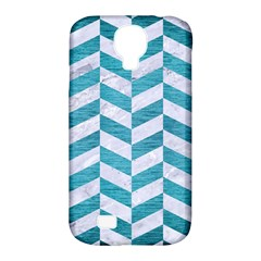 Chevron1 White Marble & Teal Brushed Metal Samsung Galaxy S4 Classic Hardshell Case (pc+silicone)