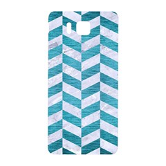 Chevron1 White Marble & Teal Brushed Metal Samsung Galaxy Alpha Hardshell Back Case