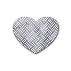Woven2 White Marble & Silver Paint Rubber Coaster (heart)