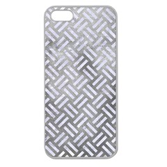 Woven2 White Marble & Silver Paint Apple Seamless Iphone 5 Case (clear)