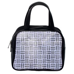 Woven1 White Marble & Silver Paint (r) Classic Handbags (one Side)
