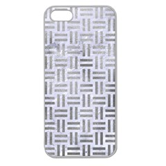 Woven1 White Marble & Silver Paint (r) Apple Seamless Iphone 5 Case (clear)