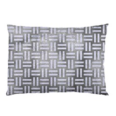 Woven1 White Marble & Silver Paint Pillow Case
