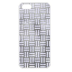 Woven1 White Marble & Silver Paint Apple Iphone 5 Seamless Case (white)