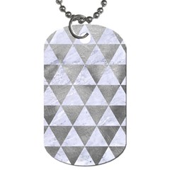 Triangle3 White Marble & Silver Paint Dog Tag (two Sides)