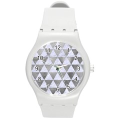 Triangle3 White Marble & Silver Paint Round Plastic Sport Watch (m)