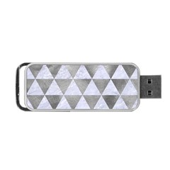 Triangle3 White Marble & Silver Paint Portable Usb Flash (one Side)