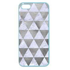 Triangle3 White Marble & Silver Paint Apple Seamless Iphone 5 Case (color)