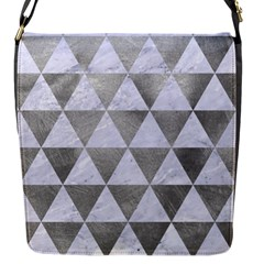 Triangle3 White Marble & Silver Paint Flap Messenger Bag (s)