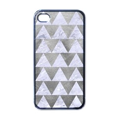 Triangle2 White Marble & Silver Paint Apple Iphone 4 Case (black)