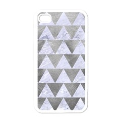 Triangle2 White Marble & Silver Paint Apple Iphone 4 Case (white)