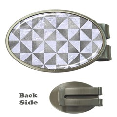 Triangle1 White Marble & Silver Paint Money Clips (oval)