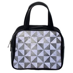 Triangle1 White Marble & Silver Paint Classic Handbags (one Side)