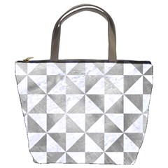 Triangle1 White Marble & Silver Paint Bucket Bags