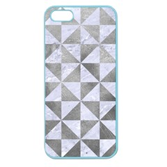 Triangle1 White Marble & Silver Paint Apple Seamless Iphone 5 Case (color)
