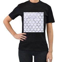 Tile1 White Marble & Silver Paint (r) Women s T Shirt (black) (two Sided)