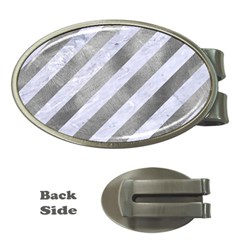 Stripes3 White Marble & Silver Paint (r) Money Clips (oval)
