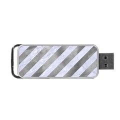 Stripes3 White Marble & Silver Paint (r) Portable Usb Flash (two Sides)