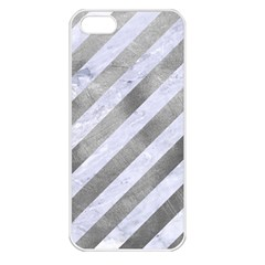 Stripes3 White Marble & Silver Paint (r) Apple Iphone 5 Seamless Case (white)