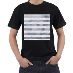 Stripes2white Marble & Silver Paint Men s T Shirt (black) (two Sided)