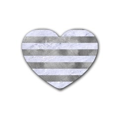 Stripes2white Marble & Silver Paint Rubber Coaster (heart)