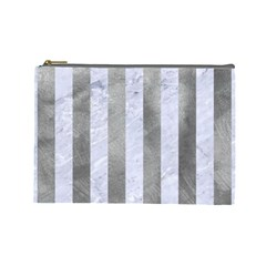 Stripes1 White Marble & Silver Paint Cosmetic Bag (large)