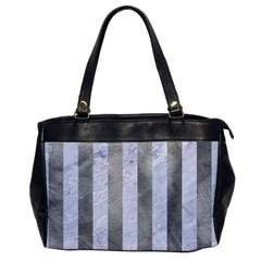 Stripes1 White Marble & Silver Paint Office Handbags