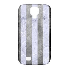 Stripes1 White Marble & Silver Paint Samsung Galaxy S4 Classic Hardshell Case (pc+silicone)