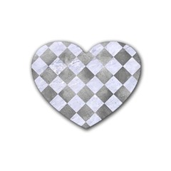 Square2 White Marble & Silver Paint Rubber Coaster (heart)