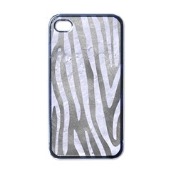 Skin4 White Marble & Silver Paint (r) Apple Iphone 4 Case (black)
