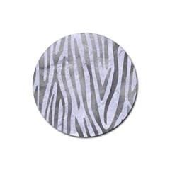 Skin4 White Marble & Silver Paint Rubber Round Coaster (4 Pack)