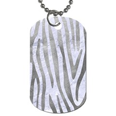 Skin4 White Marble & Silver Paint Dog Tag (two Sides)