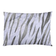 Skin3 White Marble & Silver Paint (r) Pillow Case