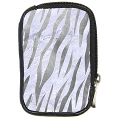 Skin3 White Marble & Silver Paint (r) Compact Camera Cases