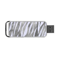 Skin3 White Marble & Silver Paint Portable Usb Flash (two Sides)