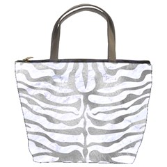 Skin2 White Marble & Silver Paint (r) Bucket Bags