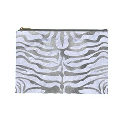 Skin2 White Marble & Silver Paint (r) Cosmetic Bag (large)