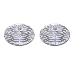 Skin2 White Marble & Silver Paint Cufflinks (oval)