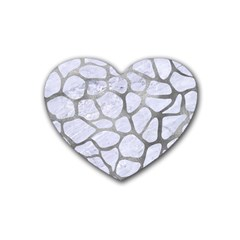 Skin1 White Marble & Silver Paint Rubber Coaster (heart)